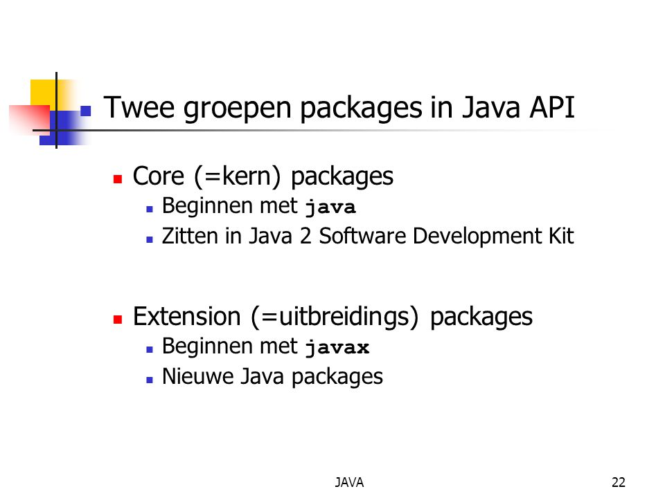 Twee groepen packages in Java API