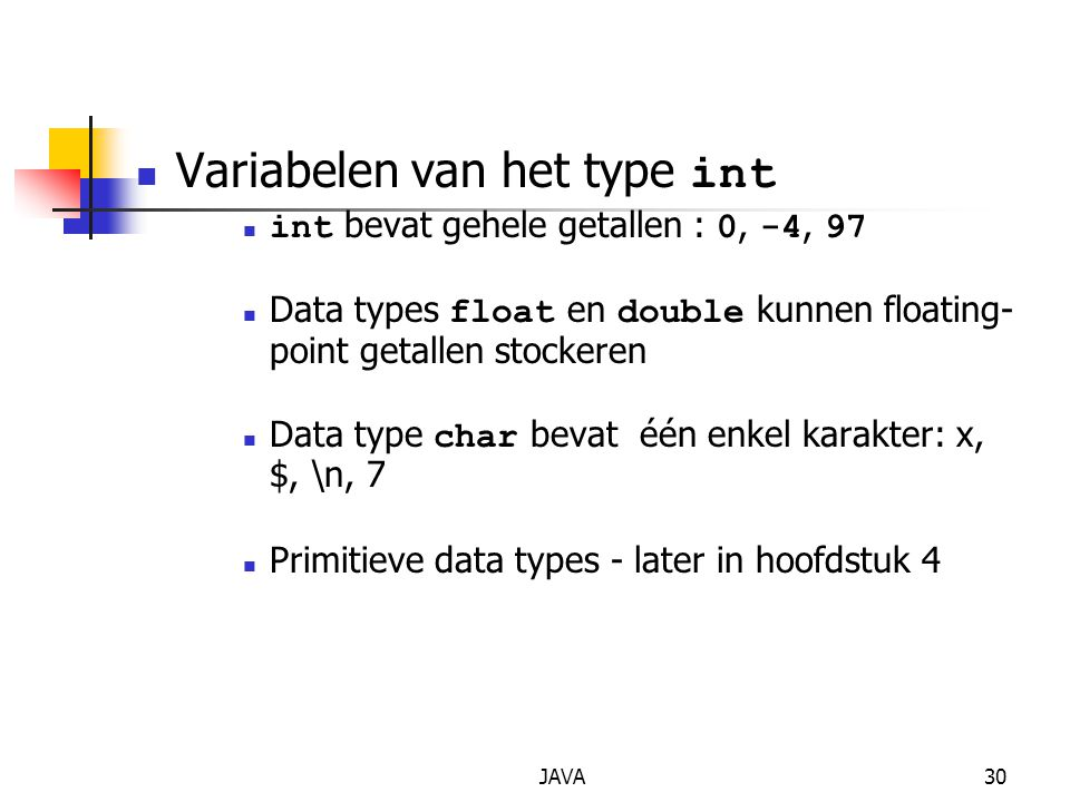 Variabelen van het type int