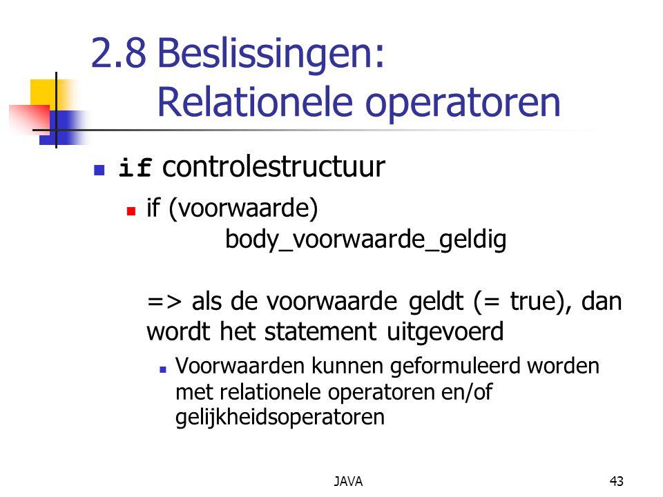 2.8 Beslissingen: Relationele operatoren