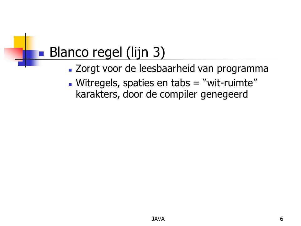 Blanco regel (lijn 3) Zorgt voor de leesbaarheid van programma