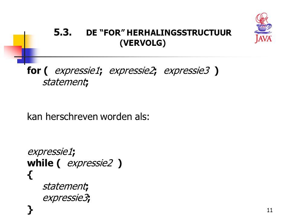 5.3. DE FOR HERHALINGSSTRUCTUUR (VERVOLG)
