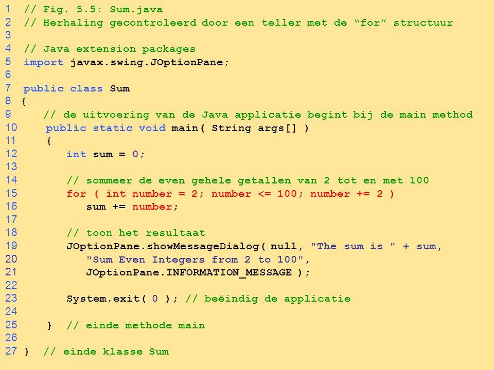 1 // Fig. 5.5: Sum.java 2 // Herhaling gecontroleerd door een teller met de for structuur. 3.