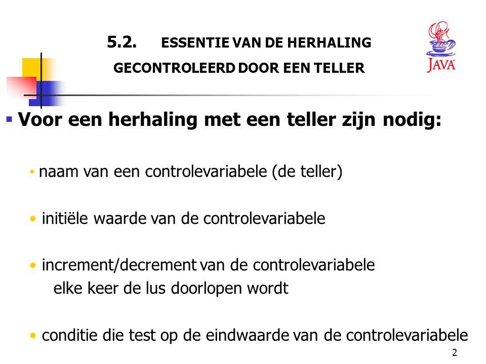 5.2. ESSENTIE VAN DE HERHALING GECONTROLEERD DOOR EEN TELLER