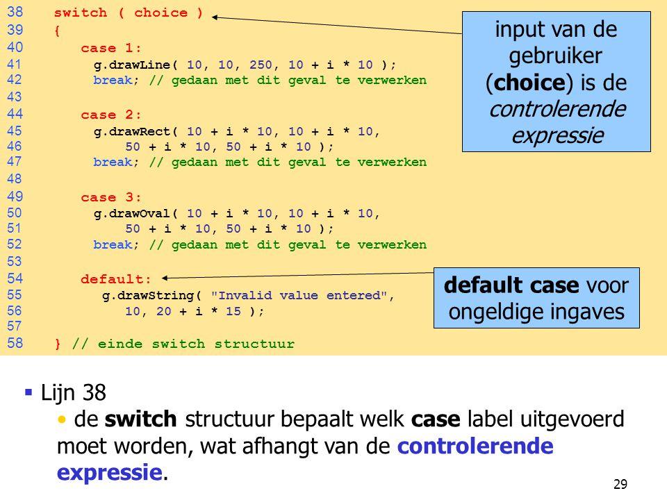 input van de gebruiker (choice) is de controlerende expressie