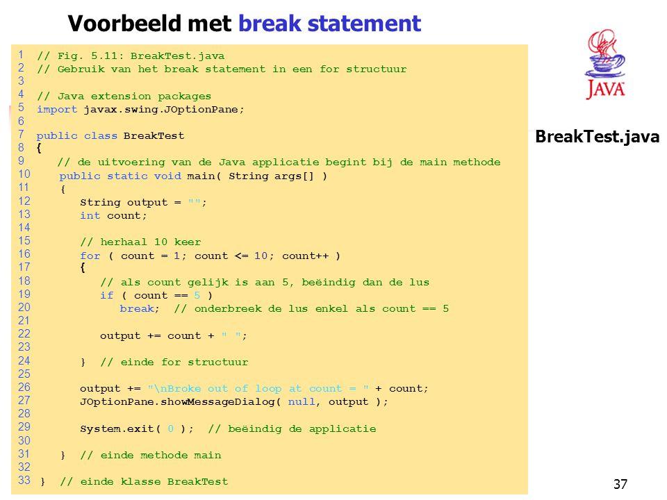 Voorbeeld met break statement