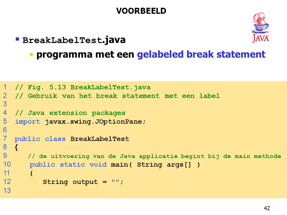 BreakLabelTest.java programma met een gelabeled break statement