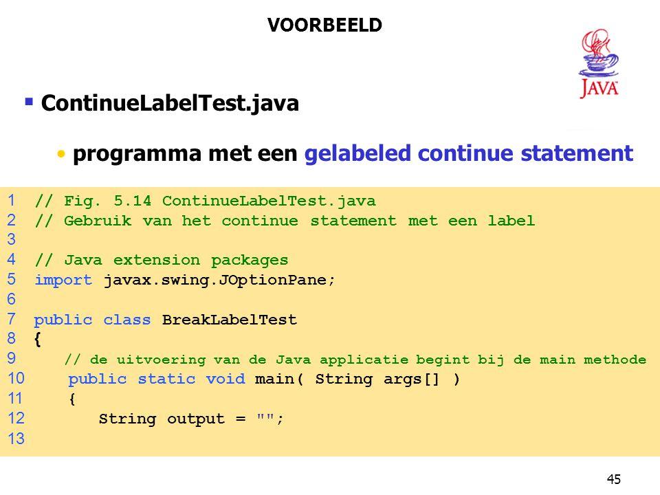 ContinueLabelTest.java programma met een gelabeled continue statement