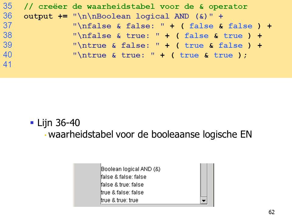 Lijn 36-40 35 // creëer de waarheidstabel voor de & operator