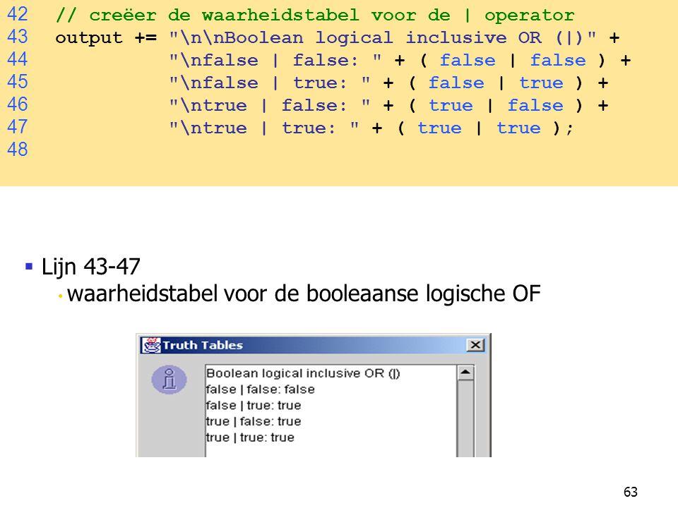 Lijn 43-47 42 // creëer de waarheidstabel voor de | operator