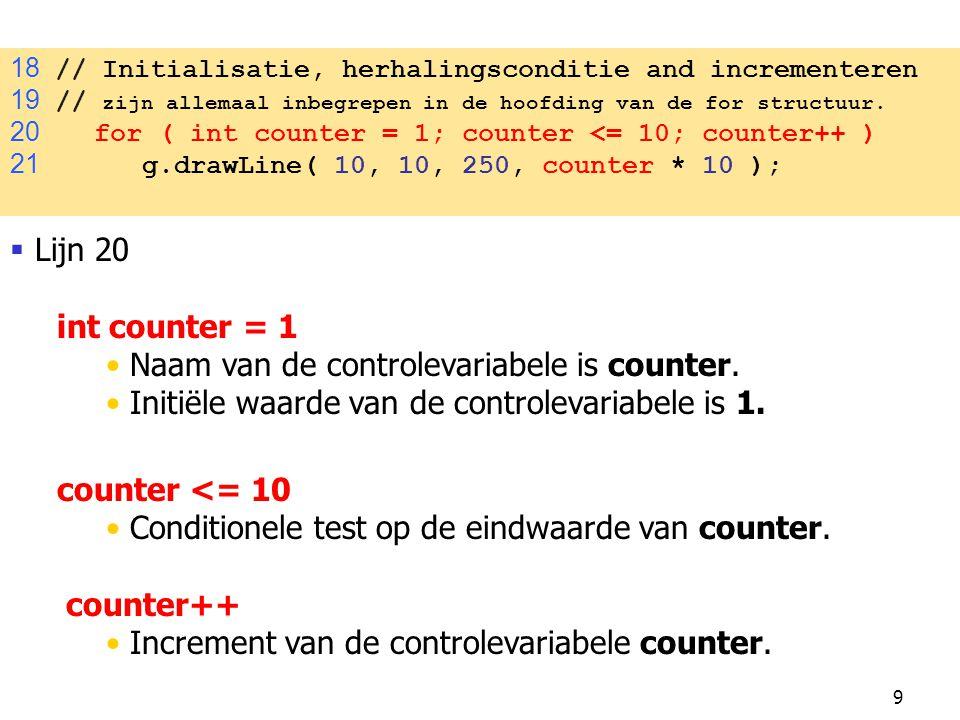 Naam van de controlevariabele is counter.