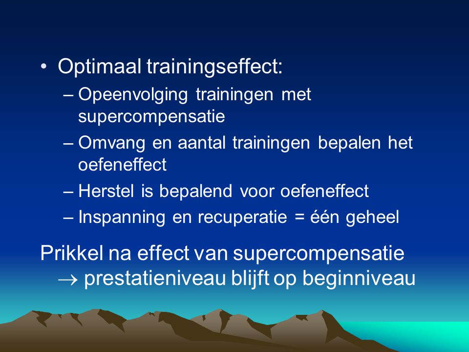 Optimaal trainingseffect: