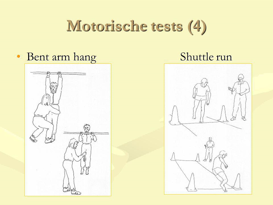 Motorische tests (4) Bent arm hang Shuttle run