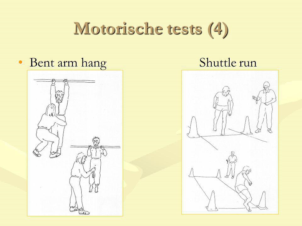 Motorische tests (4) Bent arm hang Shuttle run