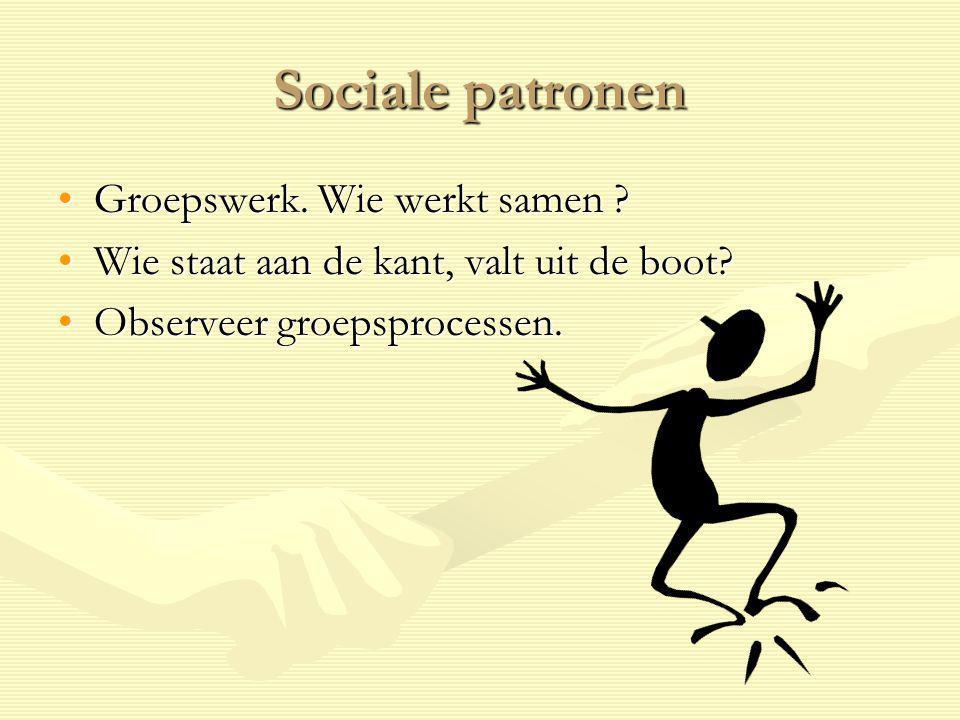 Sociale patronen Groepswerk. Wie werkt samen