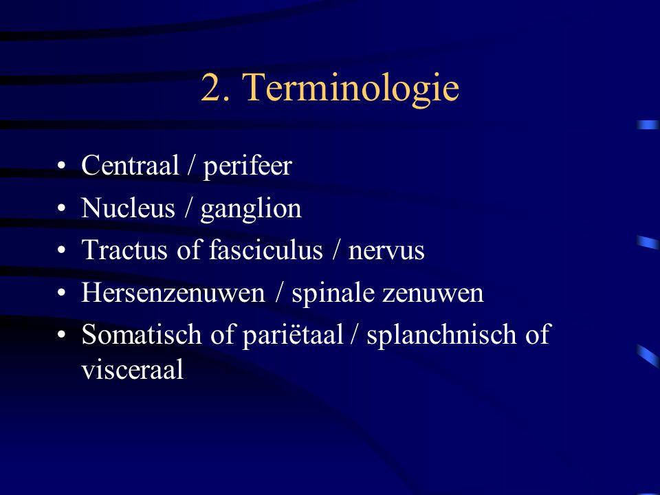 2. Terminologie Centraal / perifeer Nucleus / ganglion