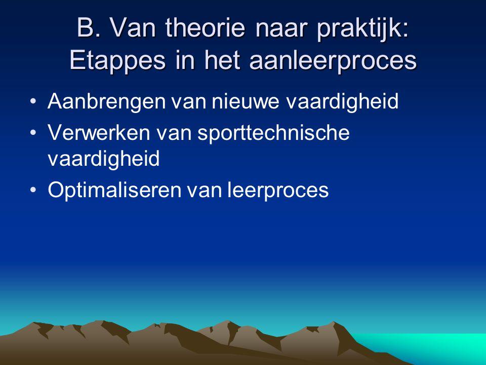B. Van theorie naar praktijk: Etappes in het aanleerproces