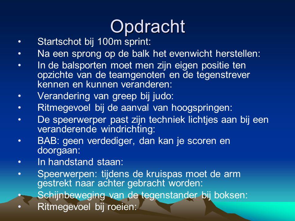 Opdracht Startschot bij 100m sprint:
