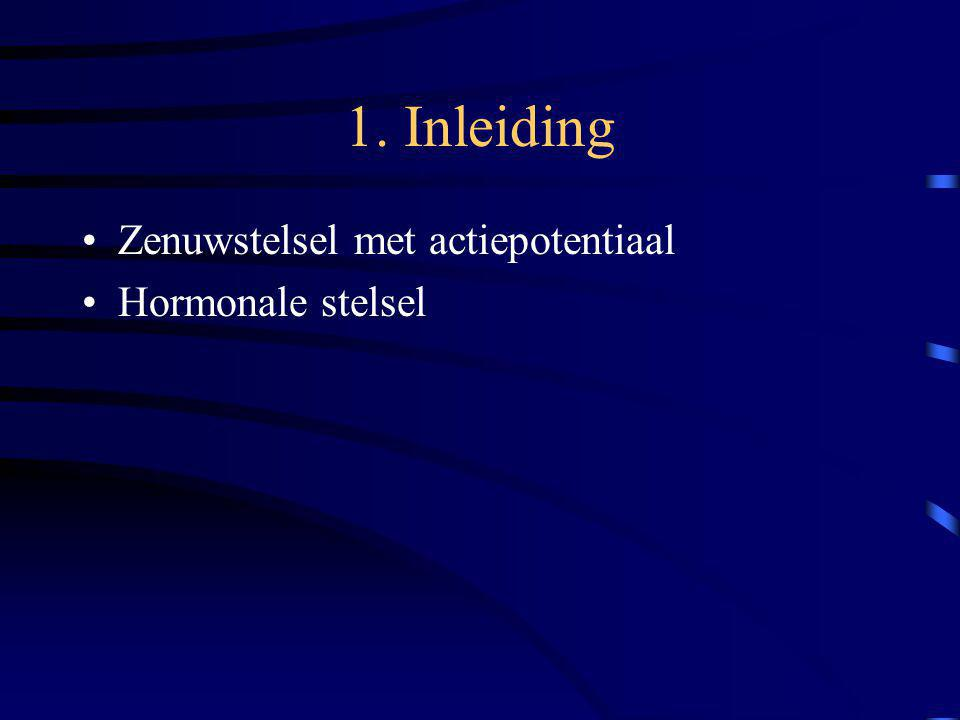 1. Inleiding Zenuwstelsel met actiepotentiaal Hormonale stelsel