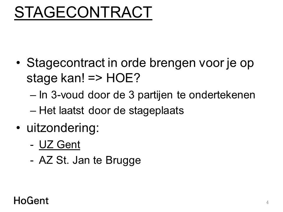STAGECONTRACT Stagecontract in orde brengen voor je op stage kan! => HOE In 3-voud door de 3 partijen te ondertekenen.
