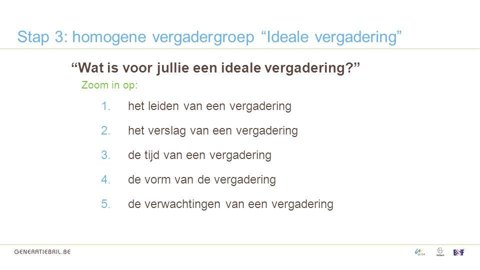 Stap 3: homogene vergadergroep Ideale vergadering