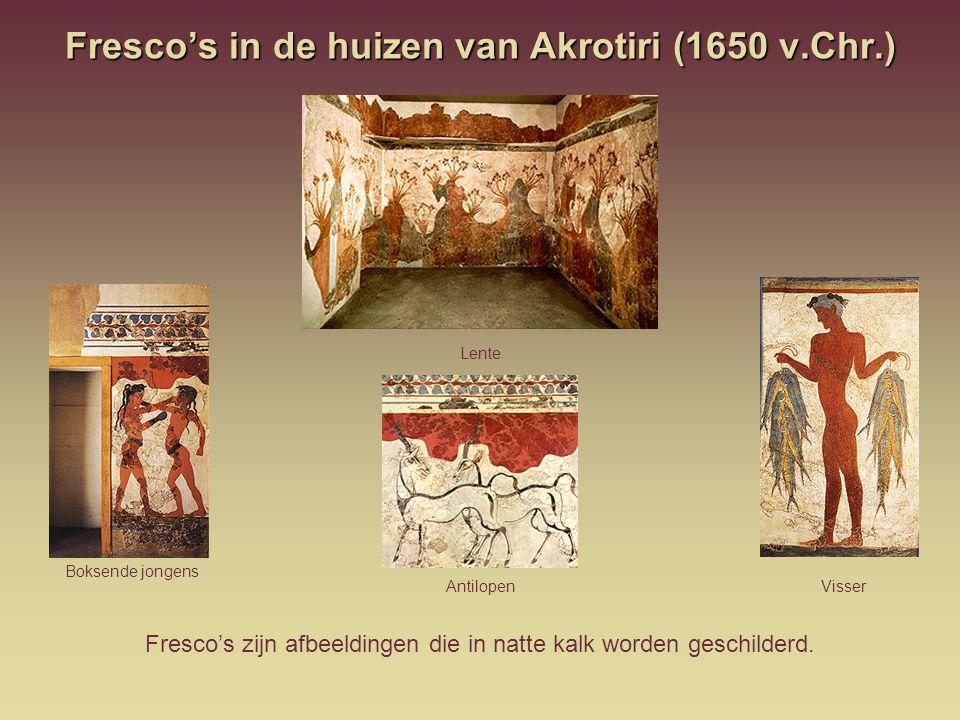 Fresco's in de huizen van Akrotiri (1650 v.Chr.)