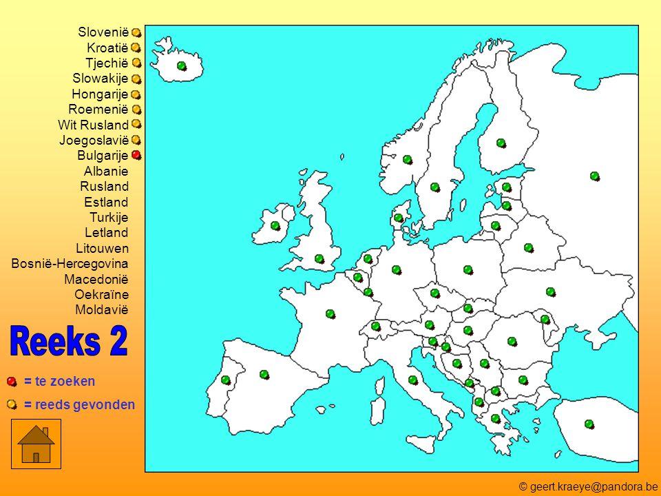 Slovenië Kroatië Tjechië Slowakije Hongarije Roemenië Wit Rusland Joegoslavië Bulgarije Albanie Rusland Estland Turkije Letland Litouwen Bosnië-Hercegovina Macedonië Oekraïne Moldavië