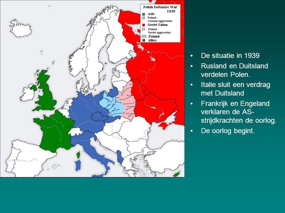 De situatie in 1939 Rusland en Duitsland verdelen Polen. Italie sluit een verdrag met Duitsland.