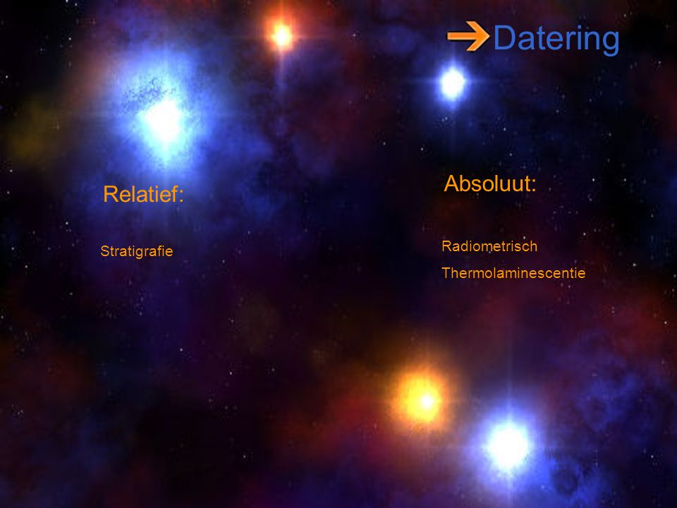 Datering Absoluut: Relatief: Radiometrisch Stratigrafie