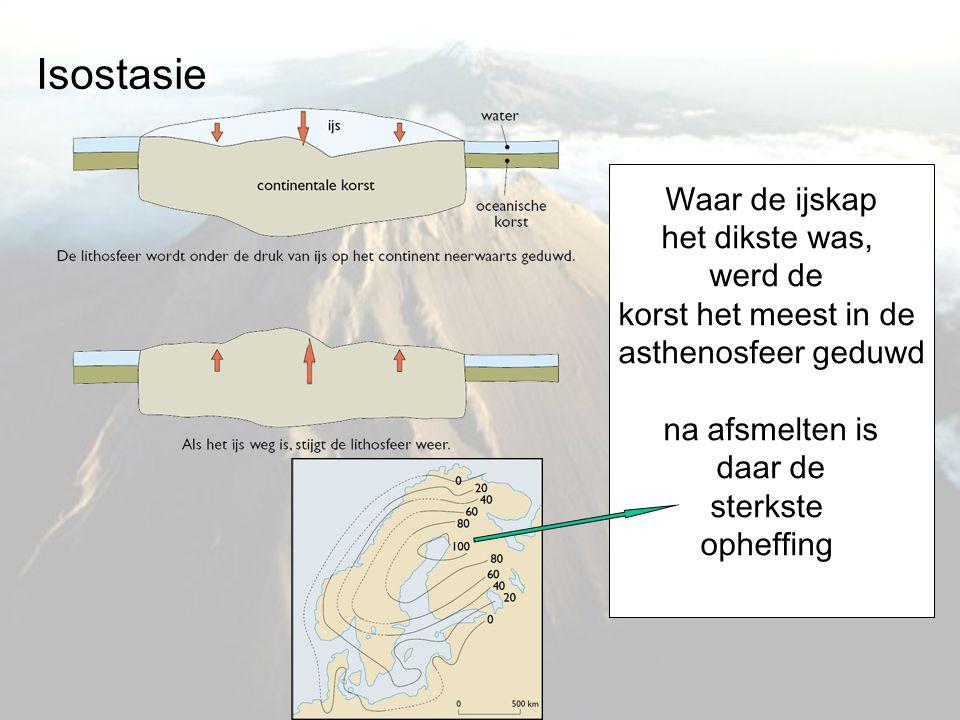Isostasie Waar de ijskap het dikste was, werd de korst het meest in de