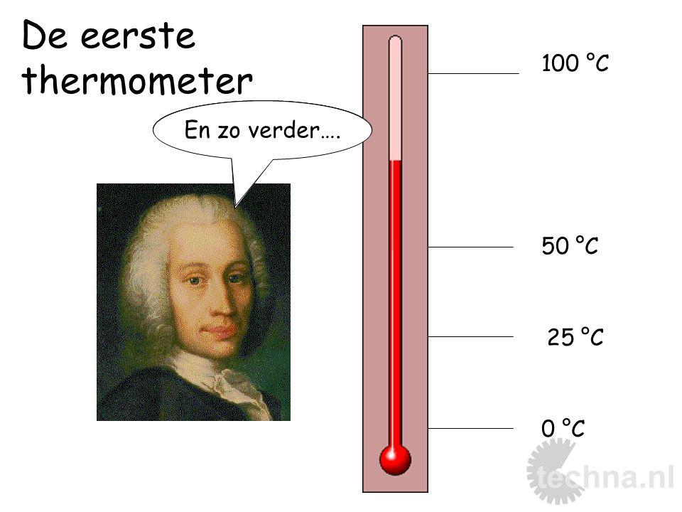 De eerste thermometer 100 °C Kokend water En zo verder…. Smeltend ijs