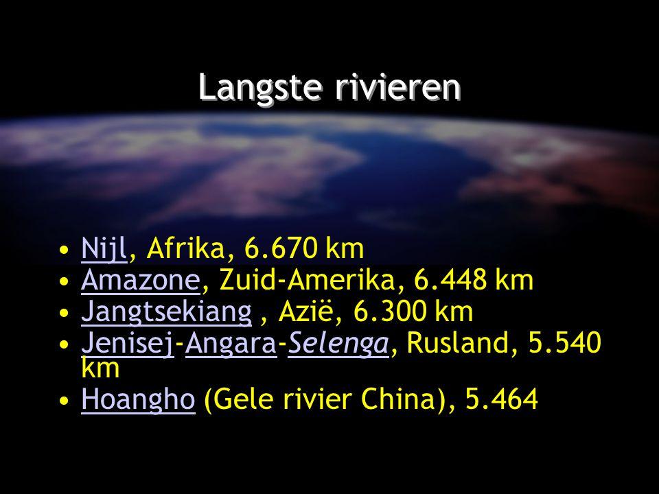 Langste rivieren Nijl, Afrika, 6.670 km