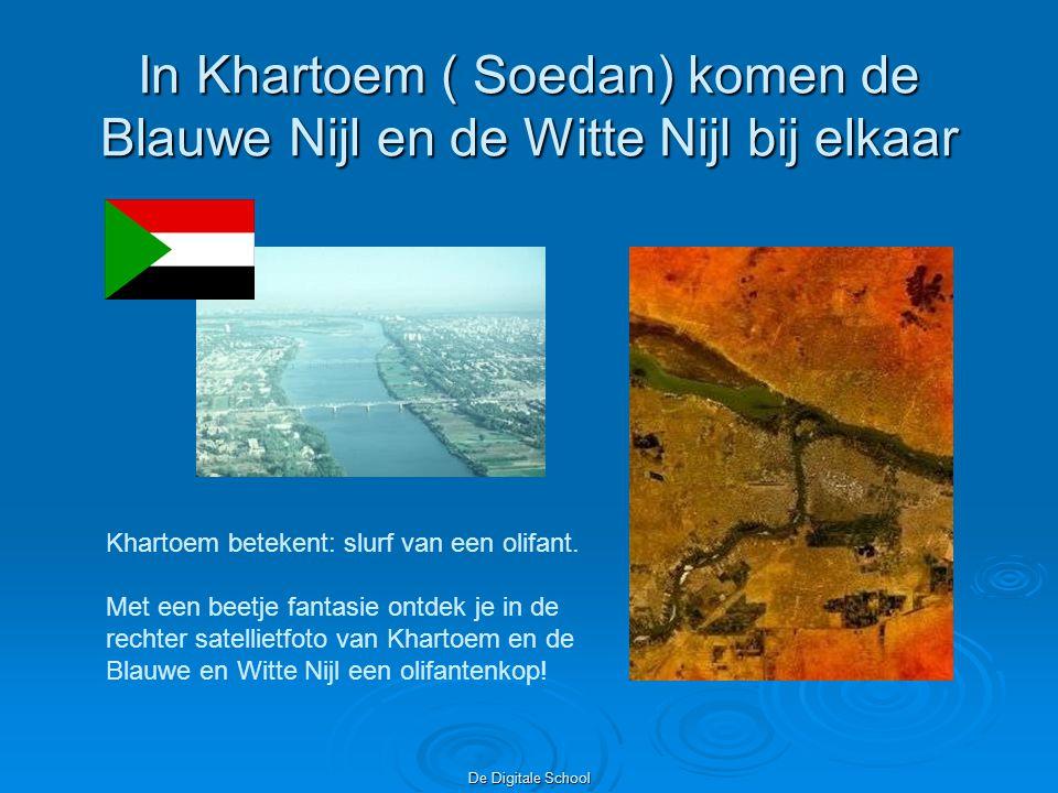 In Khartoem ( Soedan) komen de Blauwe Nijl en de Witte Nijl bij elkaar