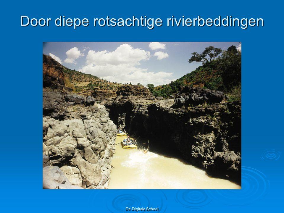 Door diepe rotsachtige rivierbeddingen