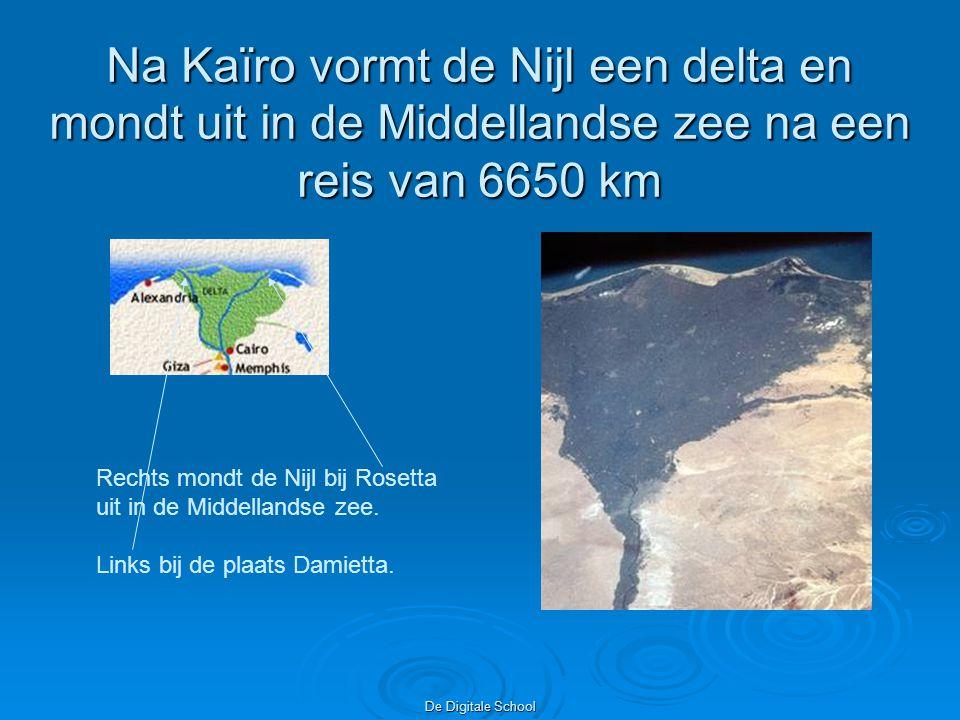 Na Kaïro vormt de Nijl een delta en mondt uit in de Middellandse zee na een reis van 6650 km