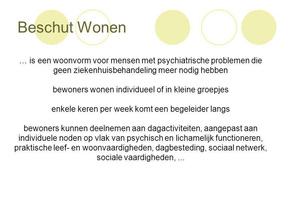 Beschut Wonen … is een woonvorm voor mensen met psychiatrische problemen die. geen ziekenhuisbehandeling meer nodig hebben.