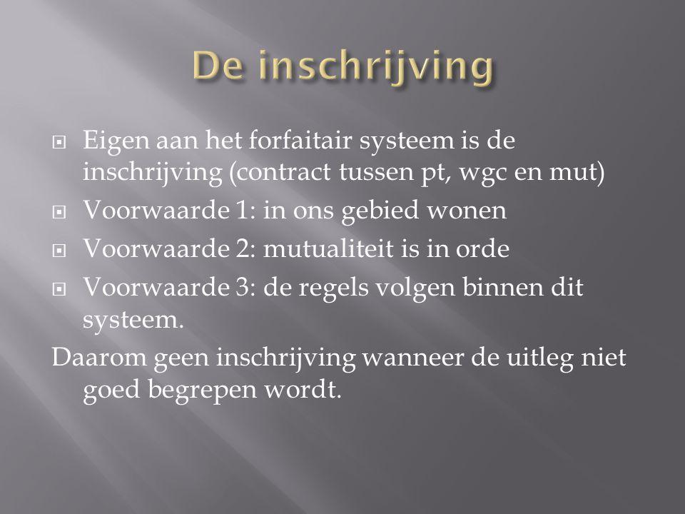 De inschrijving Eigen aan het forfaitair systeem is de inschrijving (contract tussen pt, wgc en mut)