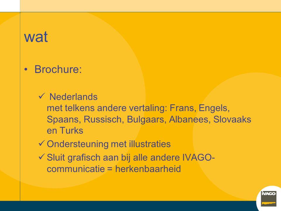 wat Brochure: Nederlands met telkens andere vertaling: Frans, Engels, Spaans, Russisch, Bulgaars, Albanees, Slovaaks en Turks.