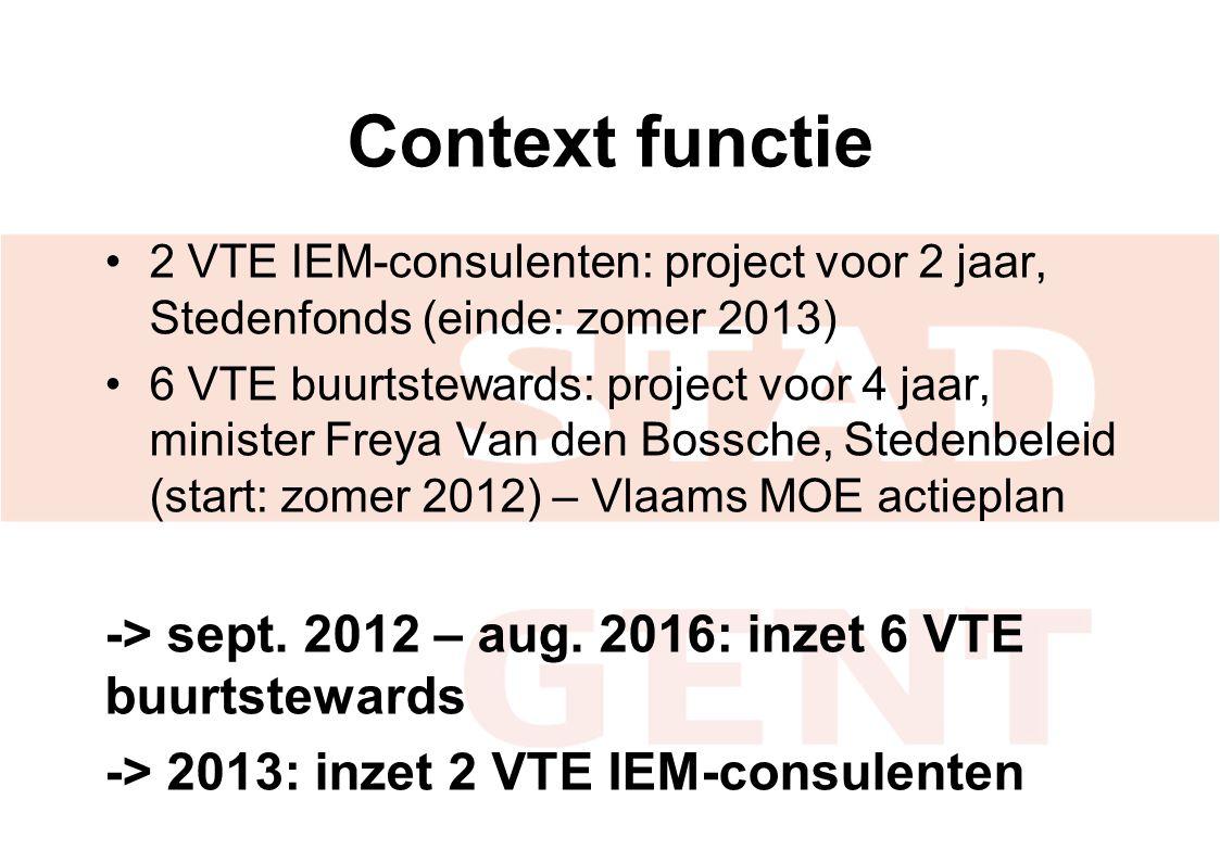 Context functie 2 VTE IEM-consulenten: project voor 2 jaar, Stedenfonds (einde: zomer 2013)