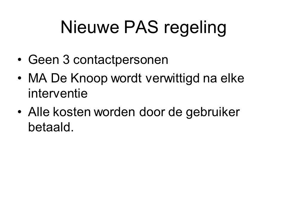 Nieuwe PAS regeling Geen 3 contactpersonen