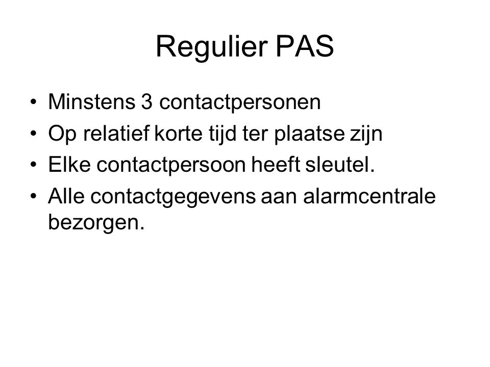 Regulier PAS Minstens 3 contactpersonen