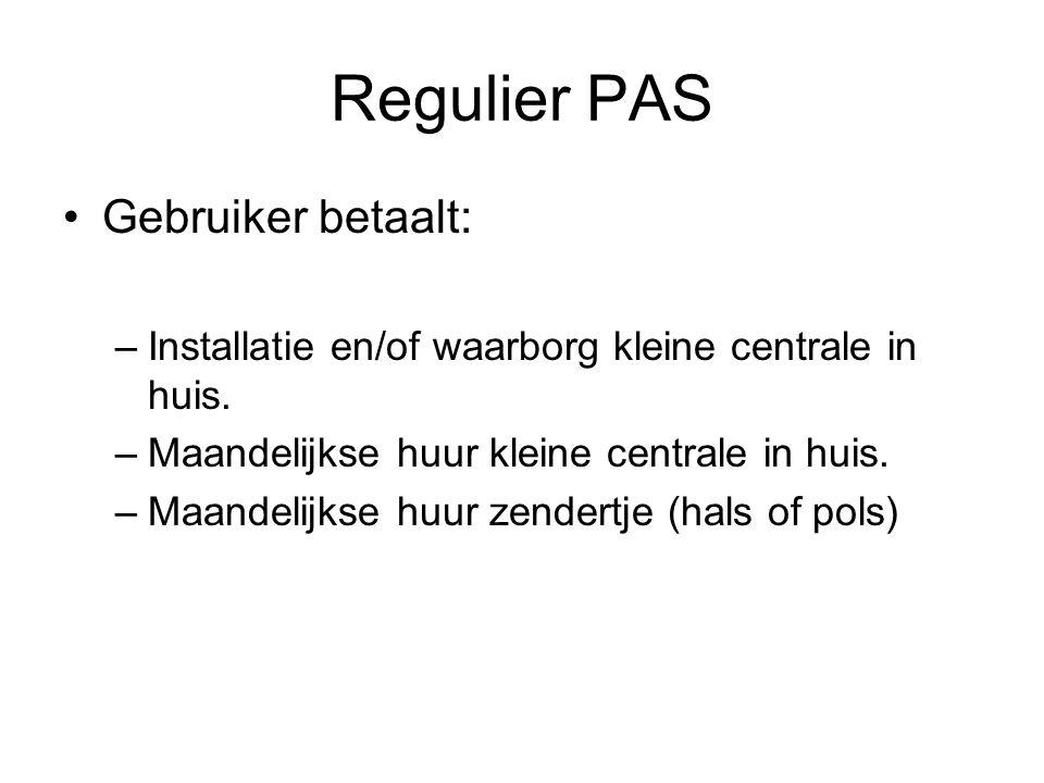 Regulier PAS Gebruiker betaalt: