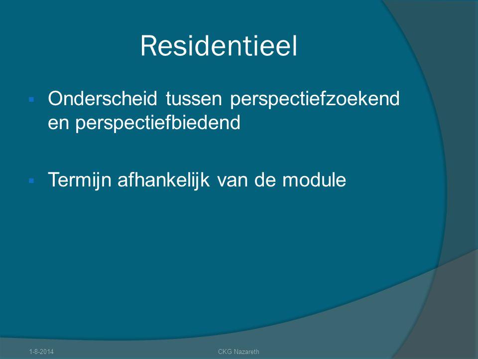 Residentieel Onderscheid tussen perspectiefzoekend en perspectiefbiedend. Termijn afhankelijk van de module.