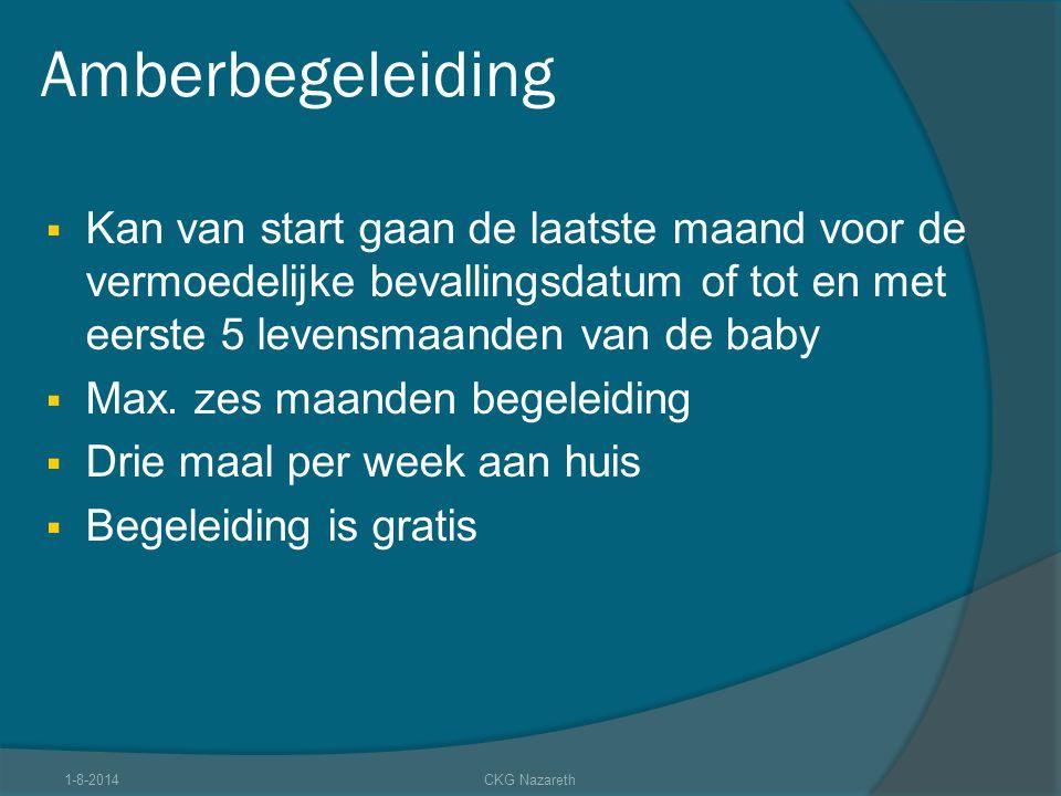 Amberbegeleiding Kan van start gaan de laatste maand voor de vermoedelijke bevallingsdatum of tot en met eerste 5 levensmaanden van de baby.