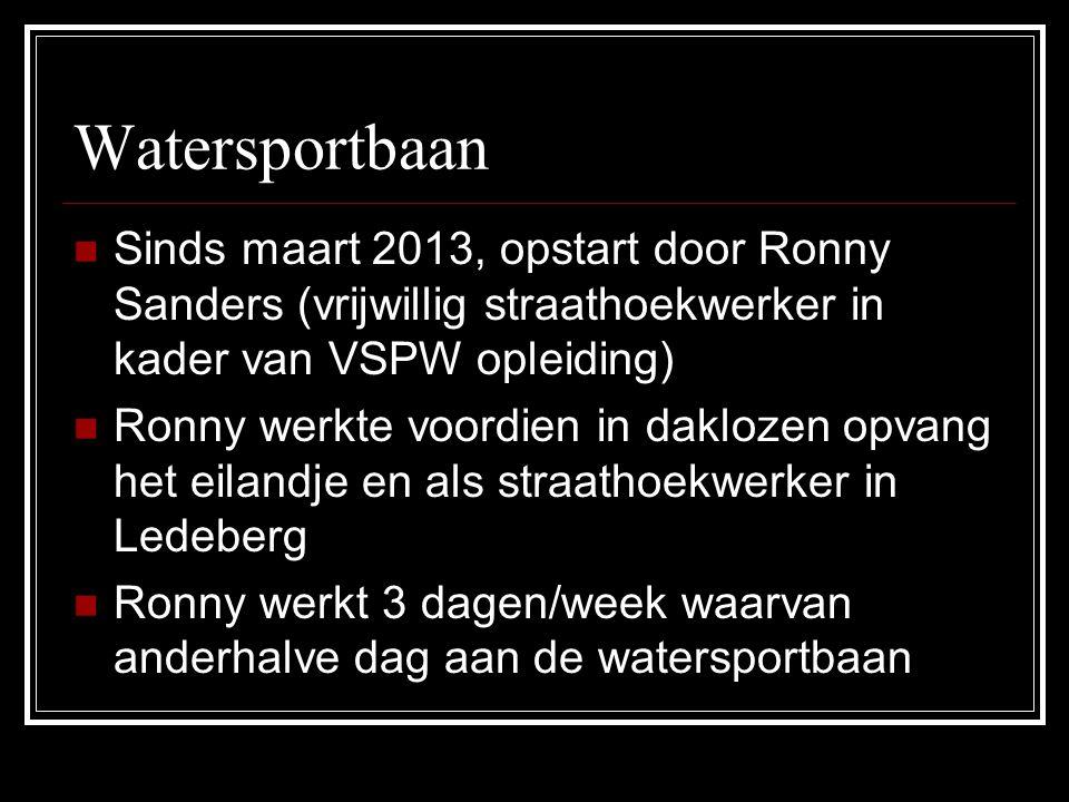 Watersportbaan Sinds maart 2013, opstart door Ronny Sanders (vrijwillig straathoekwerker in kader van VSPW opleiding)