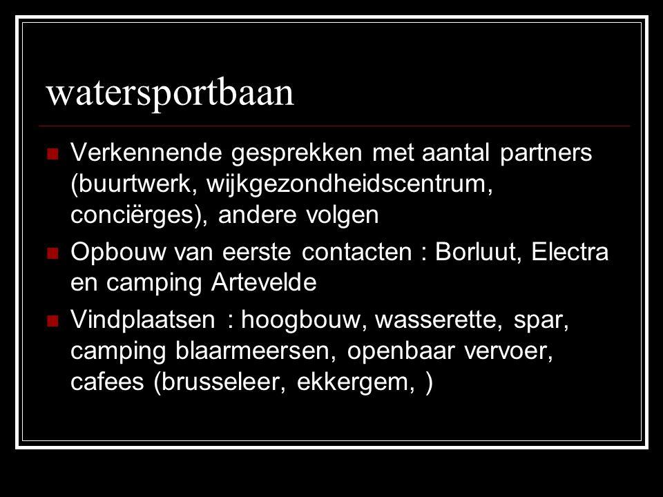 watersportbaan Verkennende gesprekken met aantal partners (buurtwerk, wijkgezondheidscentrum, conciërges), andere volgen.