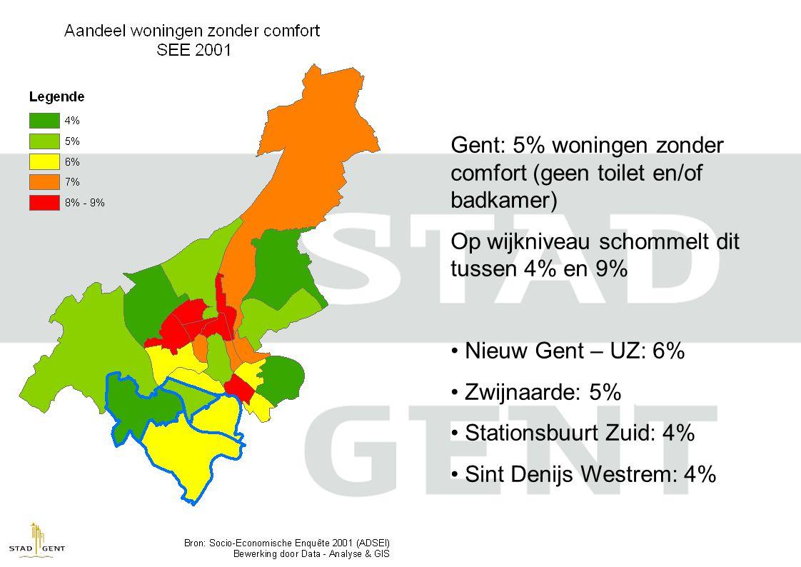 Gent: 5% woningen zonder comfort (geen toilet en/of badkamer)
