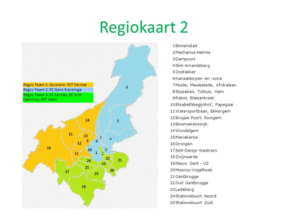 Regiokaart 2 1 Binnenstad 2 Macharius-Heirnis 3 Dampoort 4