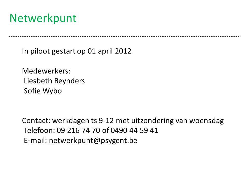 Netwerkpunt In piloot gestart op 01 april 2012 Medewerkers: