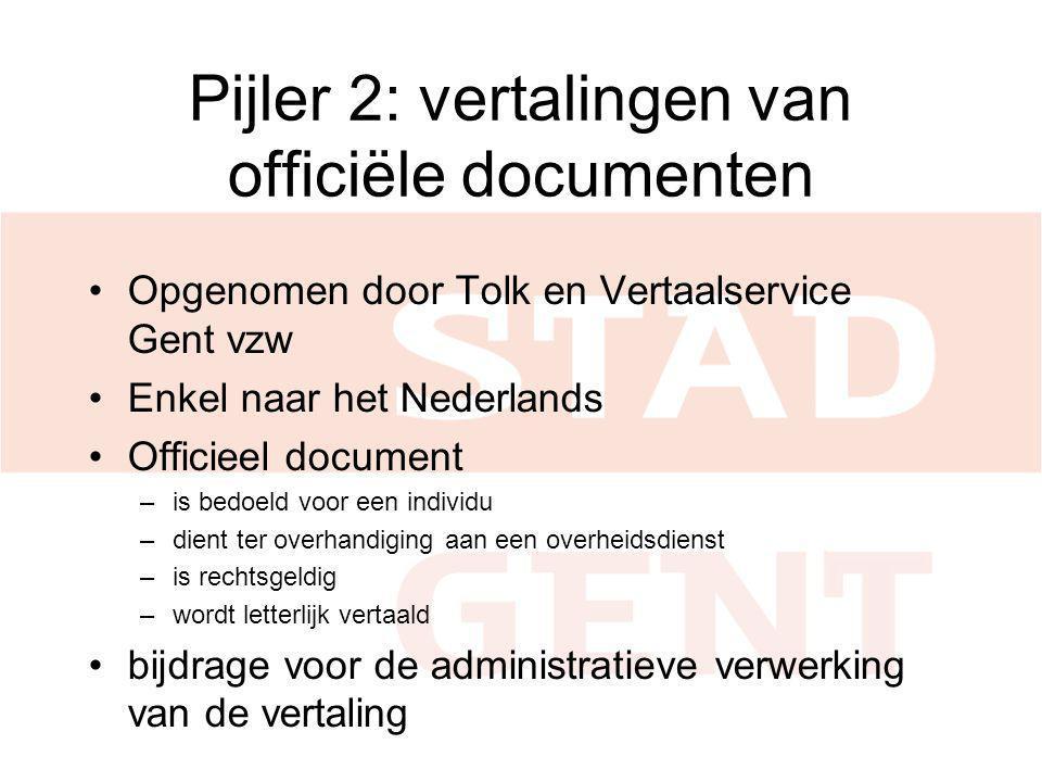 Pijler 2: vertalingen van officiële documenten