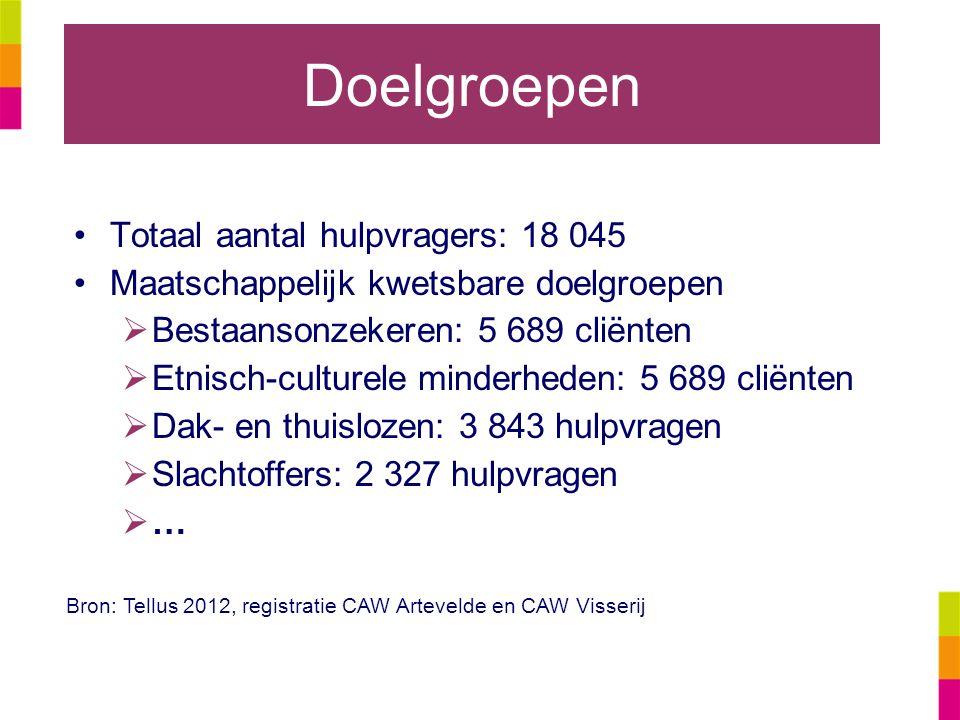 Doelgroepen Totaal aantal hulpvragers: 18 045